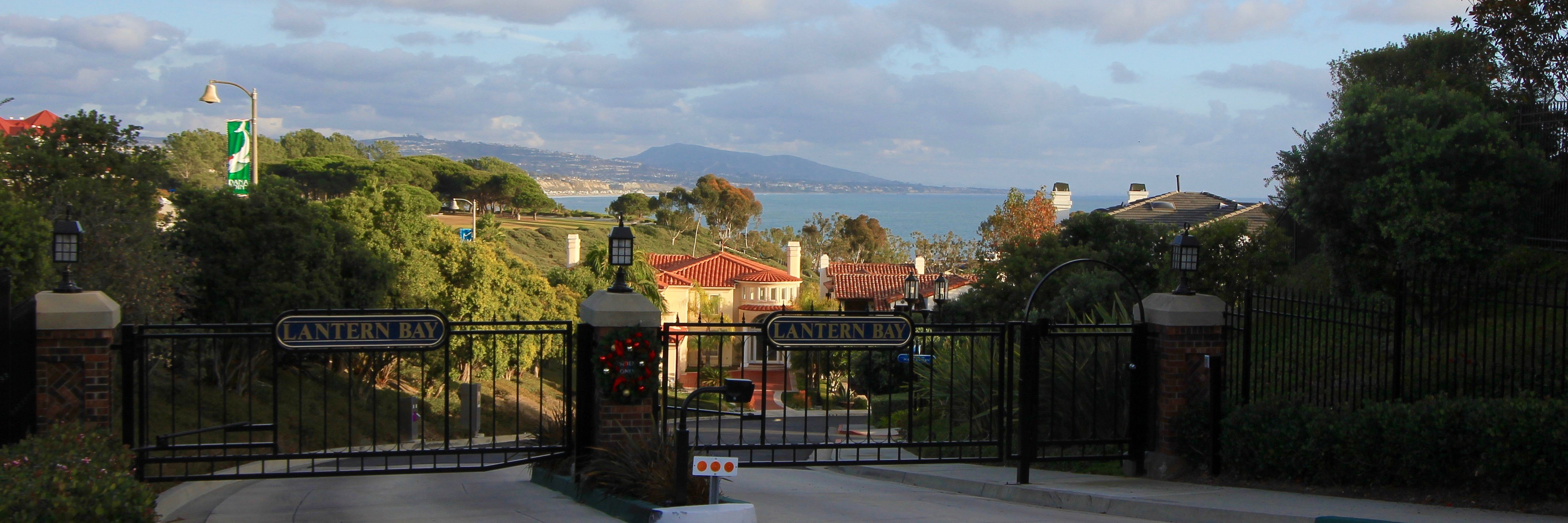 Gates to the entrance of Lantern Bay Estates in Dana Point Ca