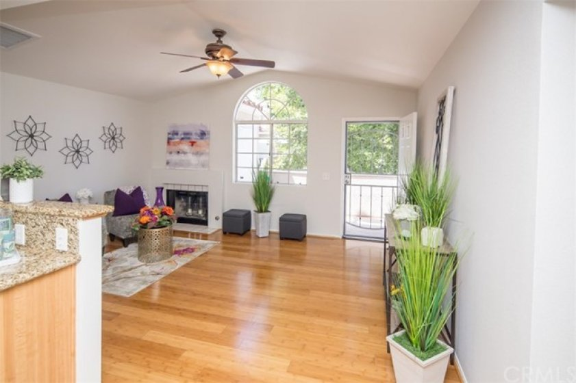 rich bamboo flooring, ceiling fan, lots of natural light