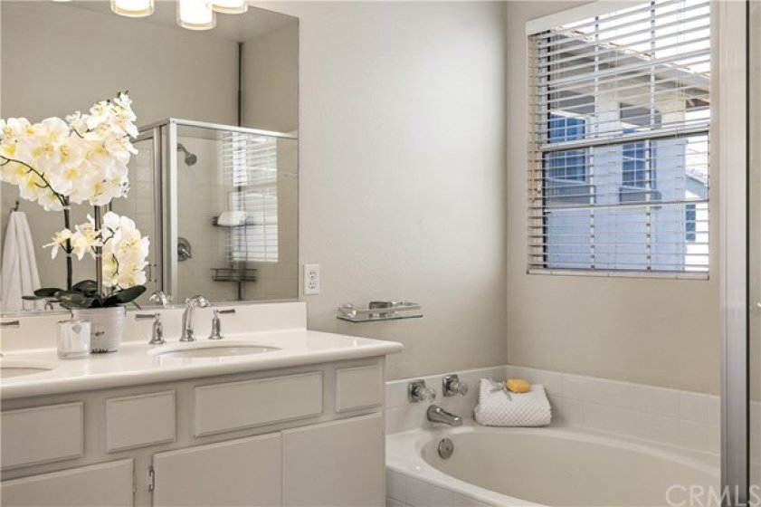 Master bathroom with Roman tub and separate shower!