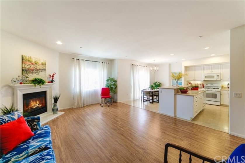 Family room with view of dining area and kitchen