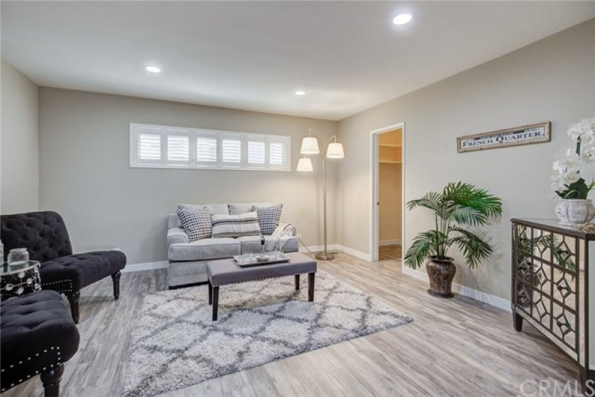 Family room with walk in closet.