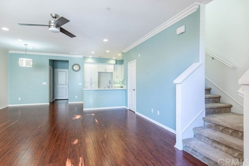 Entering the home, laminate wood like floors are easy maintenance.