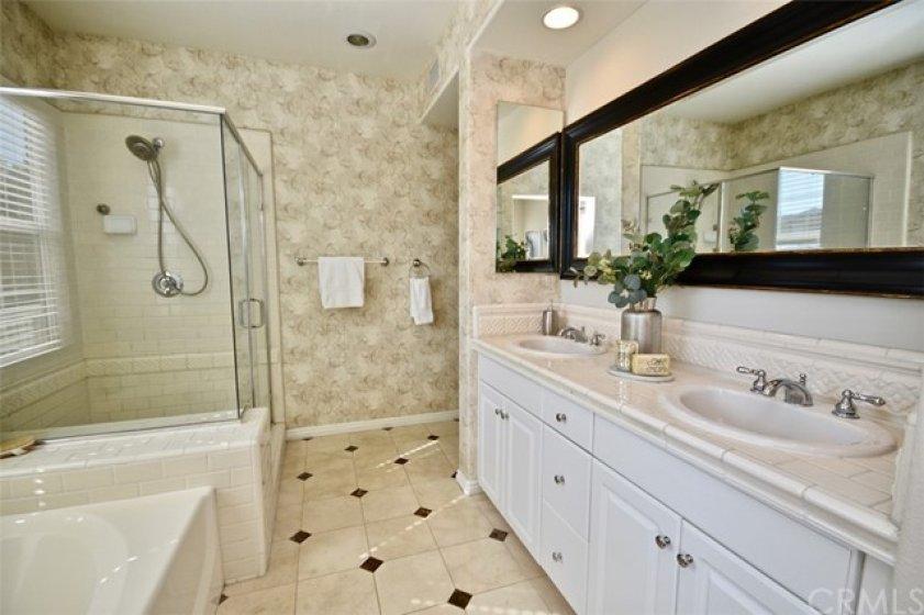 Master Bath with Custom Tile Floor