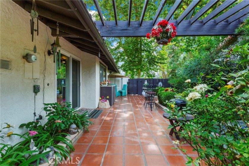 Large shaded patio