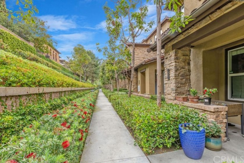 Walkway towards 260 Coral Rose. Lush greenery and private with homes on only one side! Beautiful surroundings for walking your pet, or talking a jog.