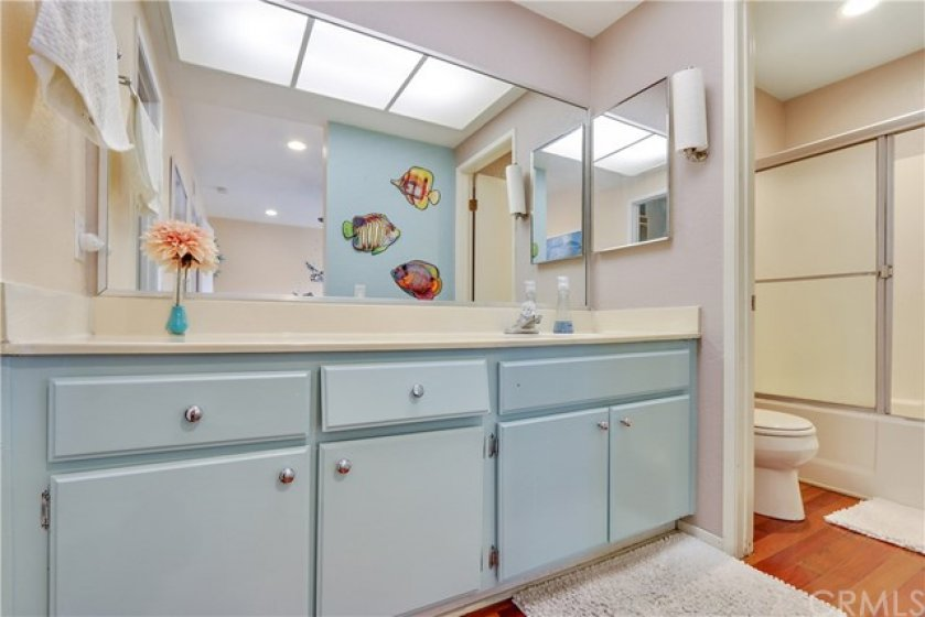 This bathroom also has lots of storage space.