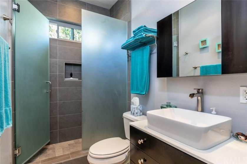 Guest bath with walk-in shower. What a great upgrade.