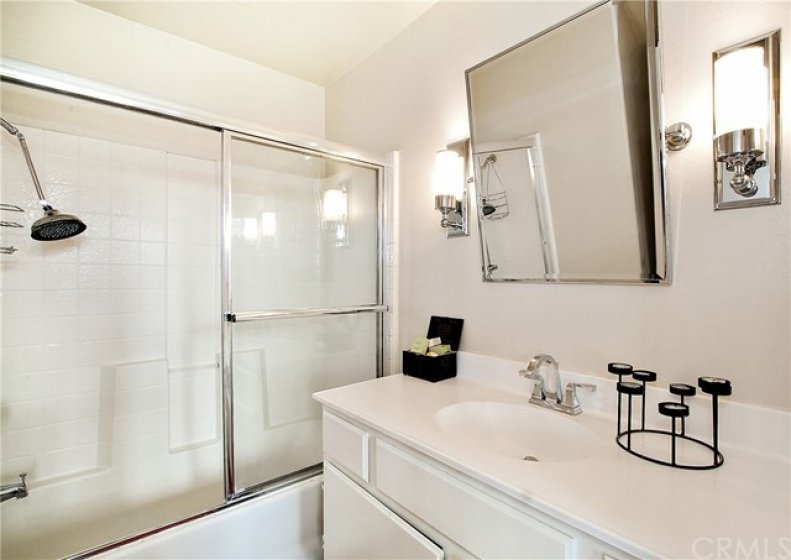 Master Bathroom with updated mirror and lights