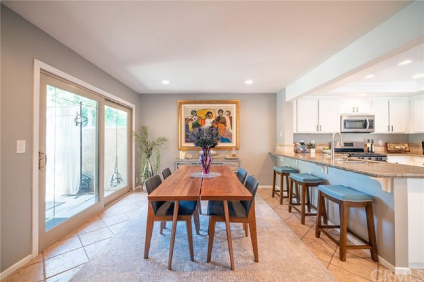 Large French Slider and Stone floors