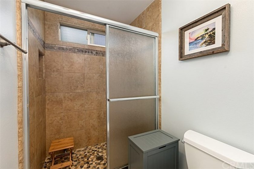 Master bathroom over sized tiled shower