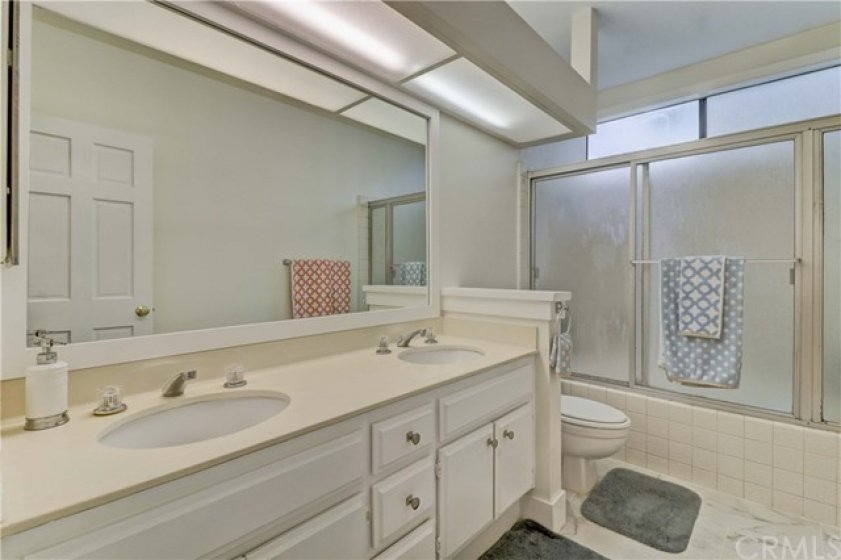 Master bathroom has dual sinks