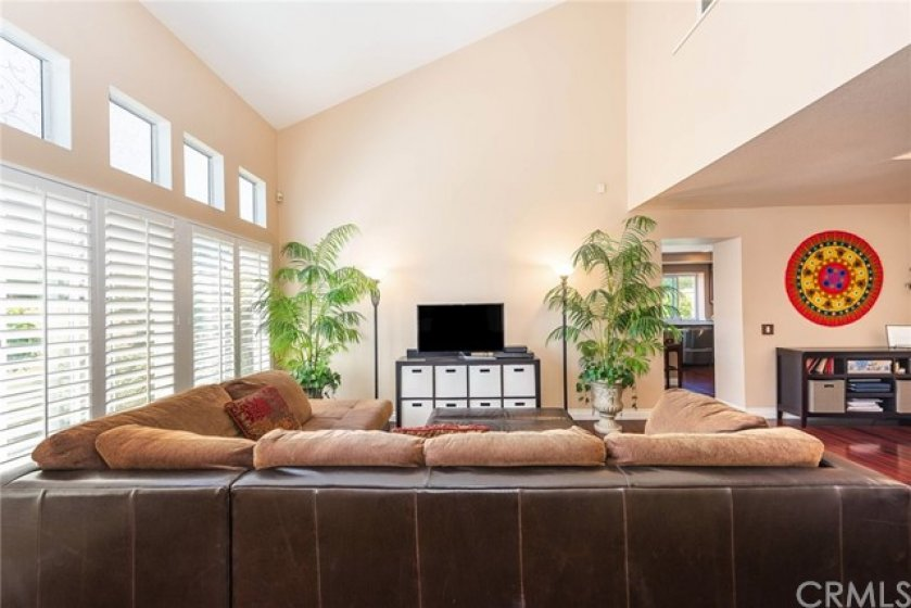 Large living room is sunny and bright.