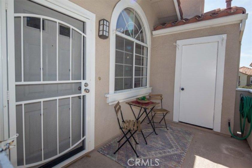 enjoy private balcony with storage in utility closet