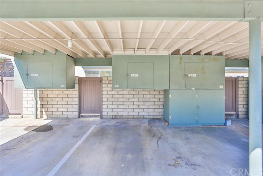 Carport parking space with storage.  Comes with an additional parking space as well.