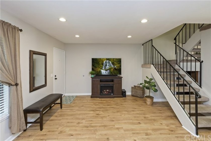 Family room with new laminate flooring