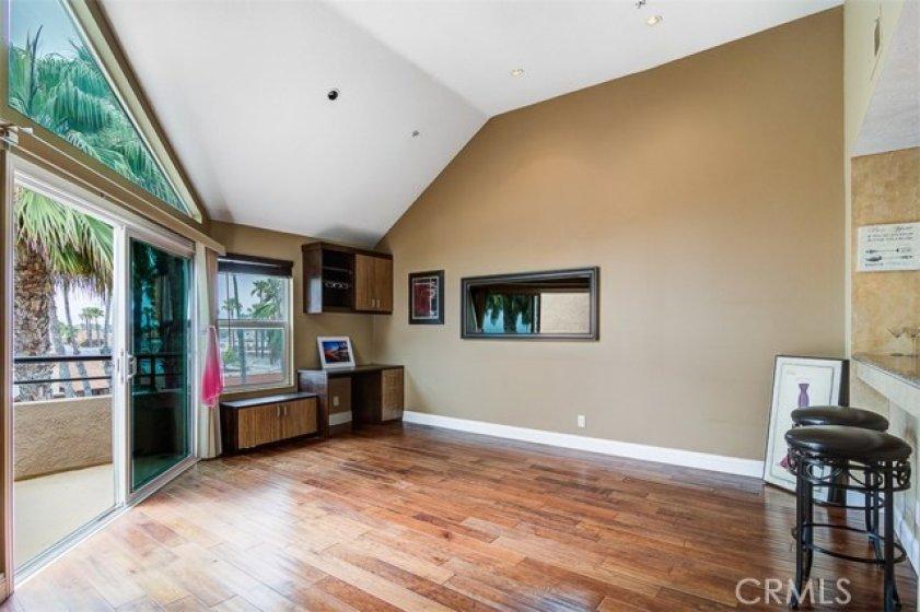 Living area open to balcony