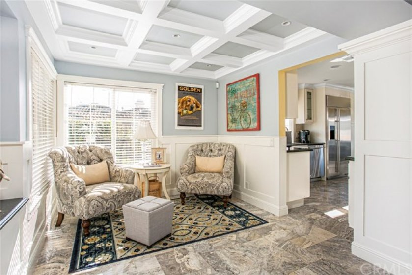 beautiful coffered ceilings in den