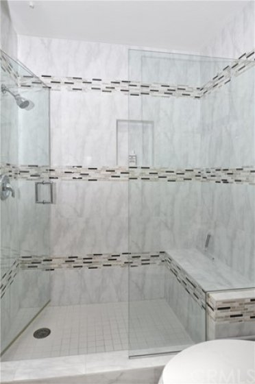 Walk-in master shower.