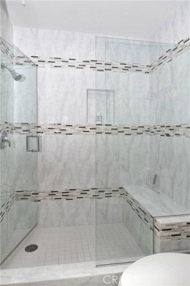 Walk-in master shower.