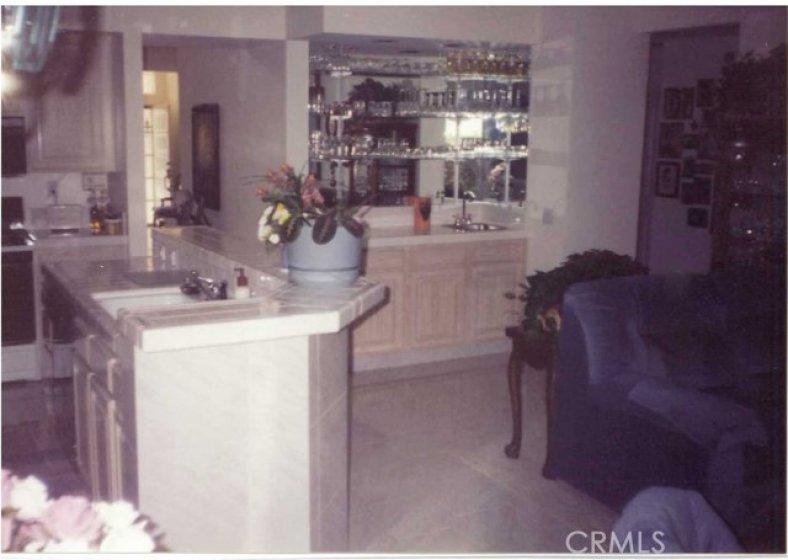 Old photo of Kitchen, Bar area, circa 1990