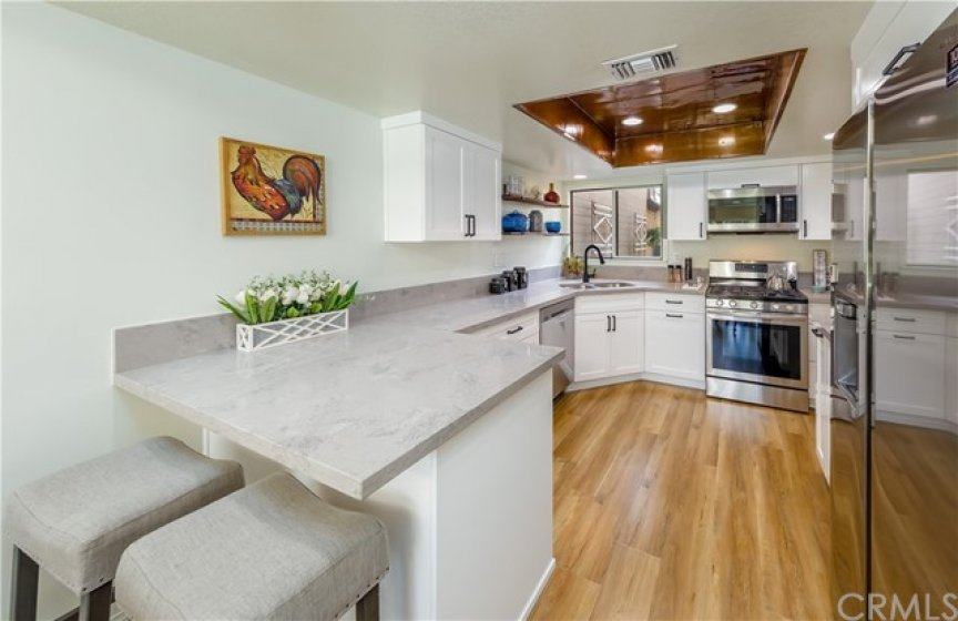 All NEW Custom Cabinets, Quarts Counter Tops, Copper Ceiling with Recessed Lighting and Stainless Steel Appliances.