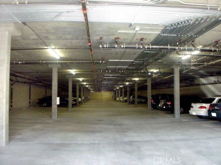 Gated community parking garage.