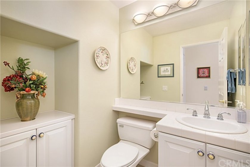 Guest powder room off the main floor living area.