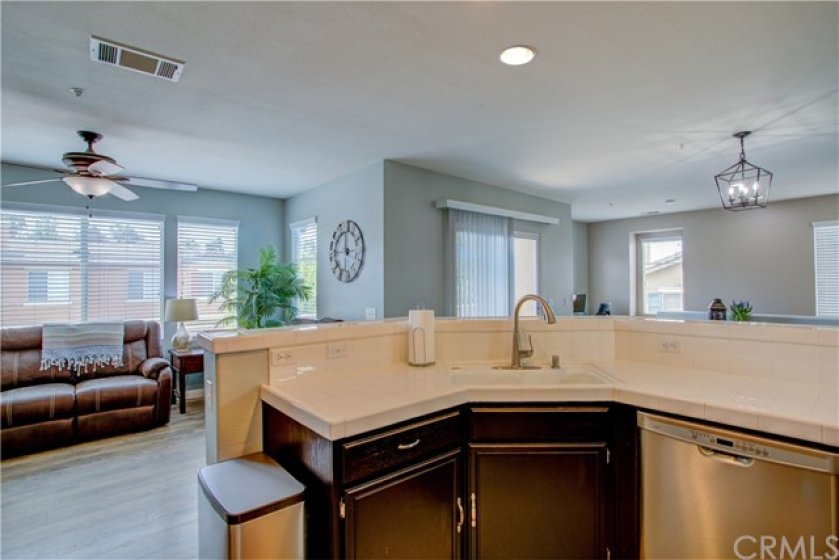 Kitchen centrally located in this open concept design