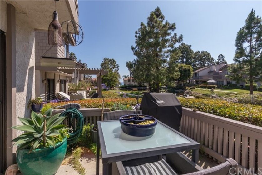 Backyard patio with a gorgeous panorama.