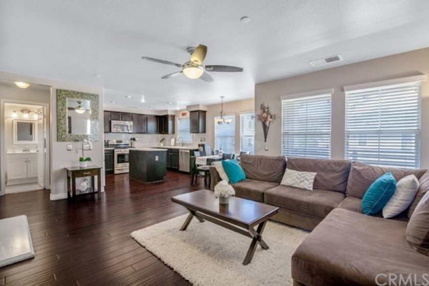 Open concept living room.  Sightlines from kitchen to dining, living and balcony.  Mahogany hardwood flooring, lots of windows letting in plenty of sunlight.