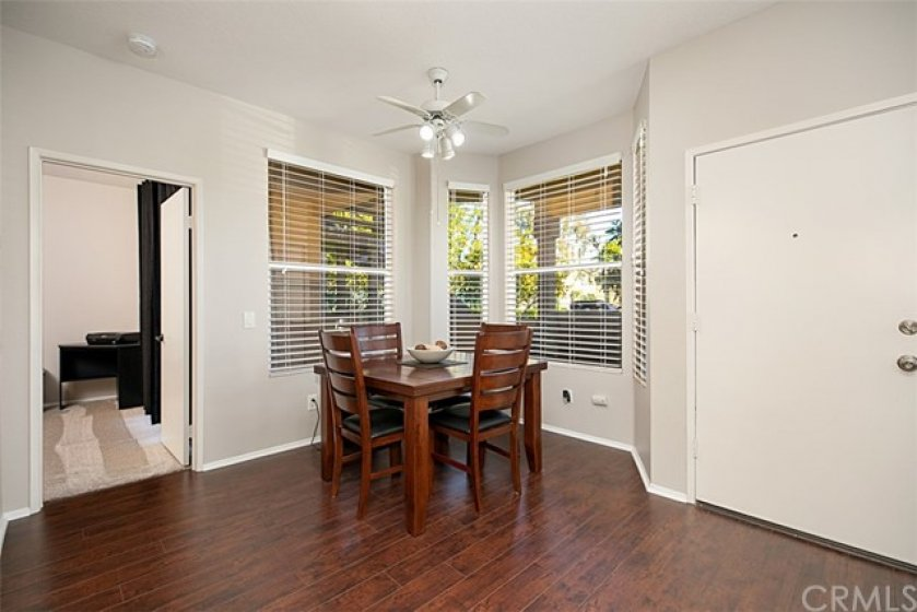 Dining area adjacent to living area