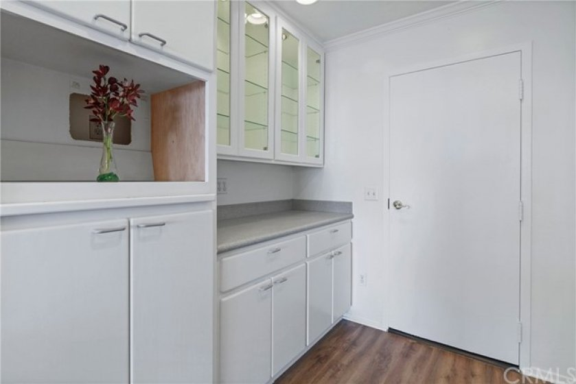 Cabinet insert for microwave, butler's pantry with display cabinet for china