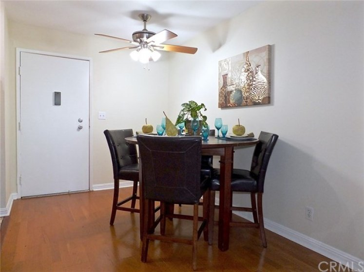Dining space with ceiling fan