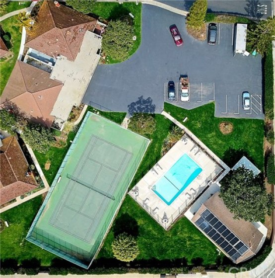 Community pool, tennis court and club house