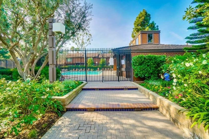 Gated entrance to pool area