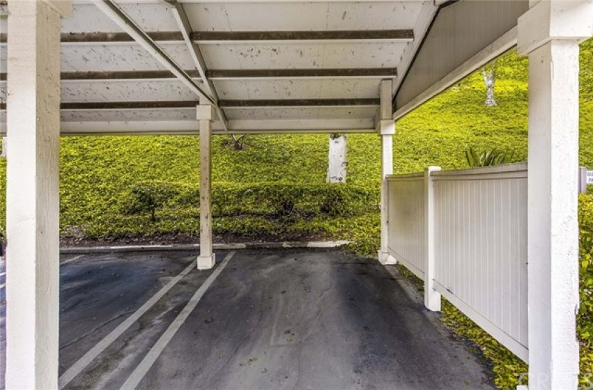 Private carport at the end of the row and steps to the front door