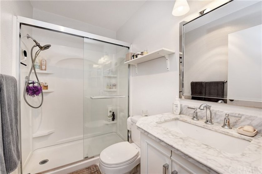The master bathroom has many beautiful upgrades.