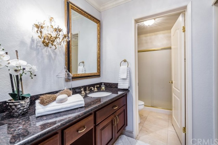 Updated master en suite features updated cabinetry, granite counters, gold fixtures (have you heard? they're back!!), vanity area, and a separate toilet/shower area