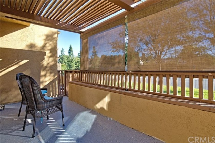 The patio off the dining room and living room has plenty of room for outdoor grilling and dining, or just relaxing.