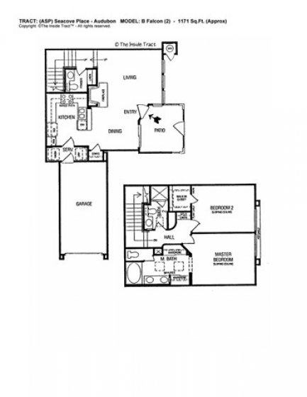 Floor plan with two large bedrooms and their own bathrooms. 1/2 bath powder room downstairs. Direct Access 1-Car Garage. Laundry room.