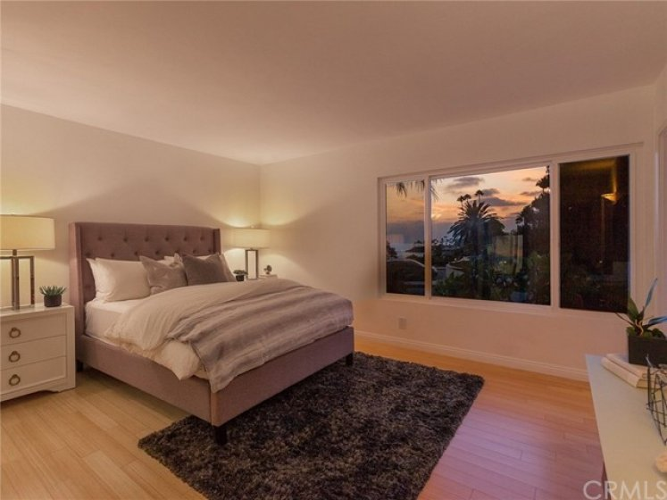 Master bedroom at sunset.