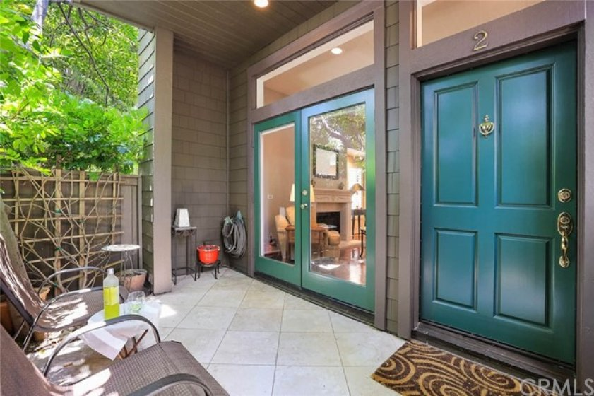 Private outdoor entrance with Baldwin Non-Tarnish brass hardware.
