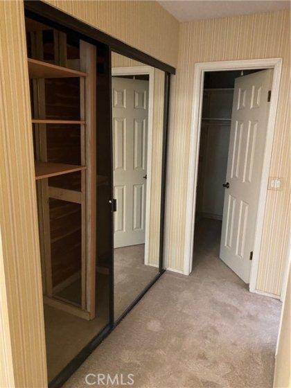 Master bedroom closet and walk-in closet