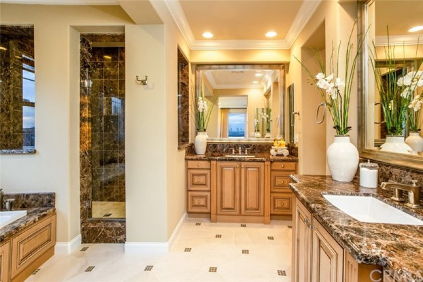 "Enter into your master suite bathroom featuring 3/8"" clear glass frameless shower enclosure, dual sinks,  beveled glass mirrored recessed medicine cabinets, caesarstone slab countertop & 6"" splash."