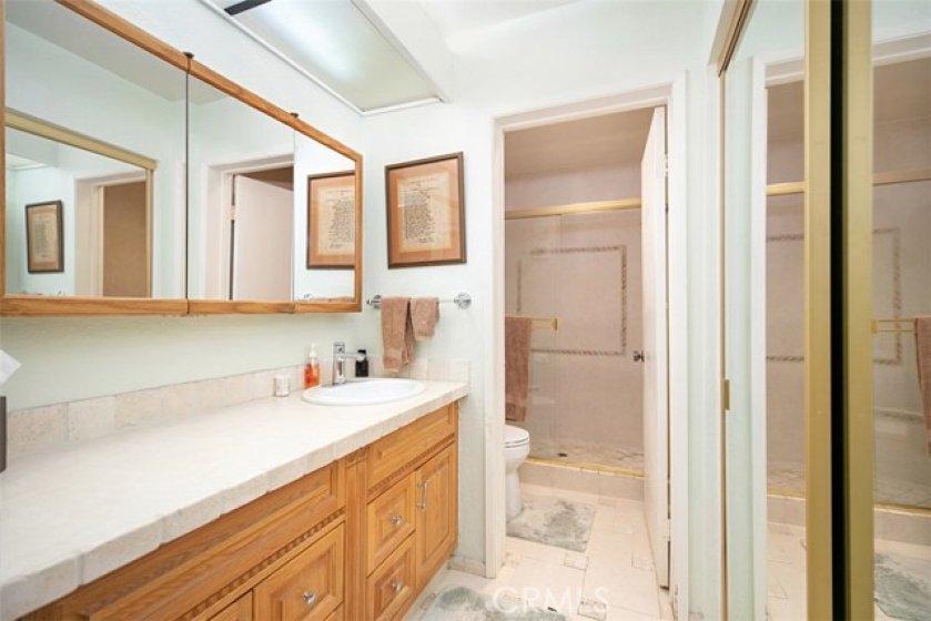 Master bathroom with a mirrored wardrobe closet