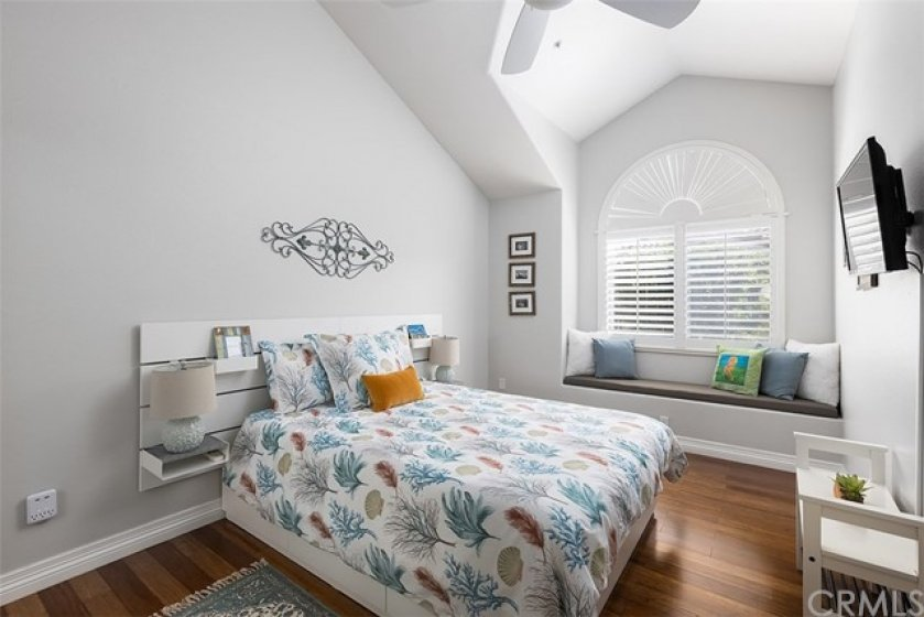 Second Bedroom with Vaulted Ceiling & Fan
