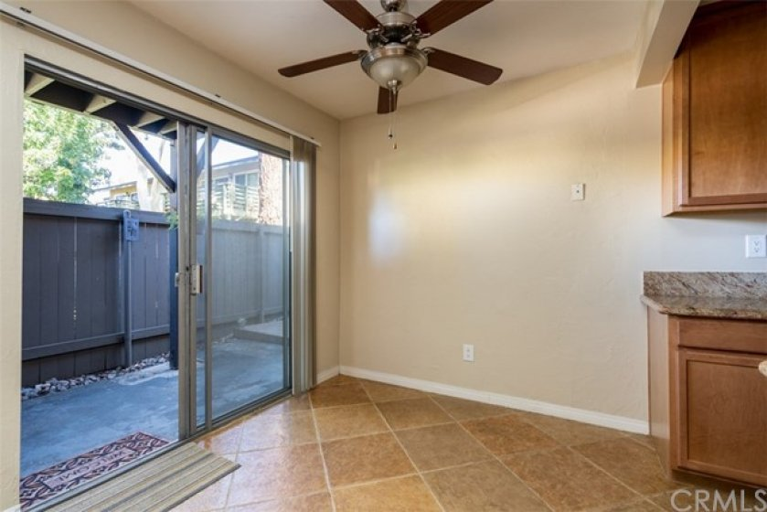 Dining room area with easy access to large patio