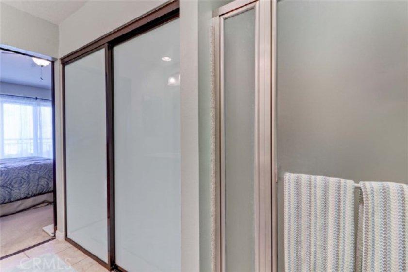 Glass closet doors.