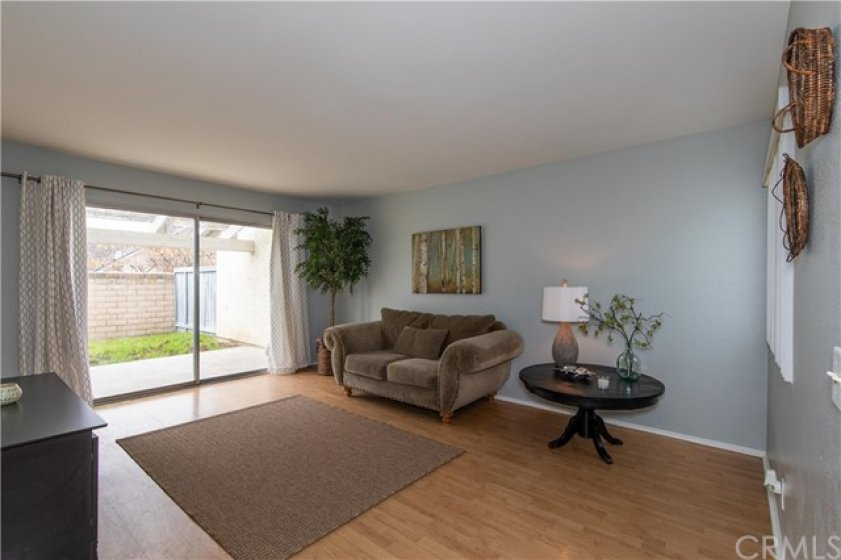 Family room with slider to backyard