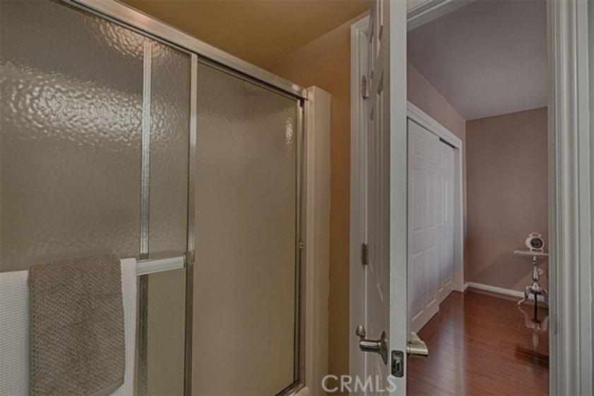 Downstairs bedroom suite shower/tub.